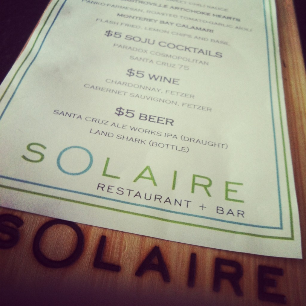 paradox solaire happy hour menu